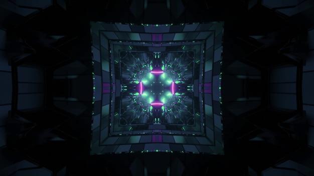 3d illustratie van abstracte achtergrond van donkere eindeloze tunnel in vorm van vierkant met blauwe en purpere neonverlichting