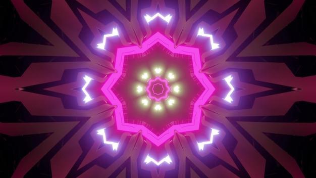 3d illustratie van abstracte achtergrond van symmetrische tunnel met roze en purpere neonlichten