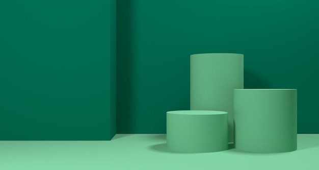 3d illustratie van abstracte groene kleuren geometrische vorm, moderne minimalistische podiumvertoning of showcase