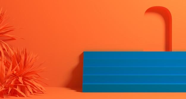 3d illustratie van abstracte oranje & blauwe kleuren geometrische vorm, moderne minimalistische podiumvertoning of showcase