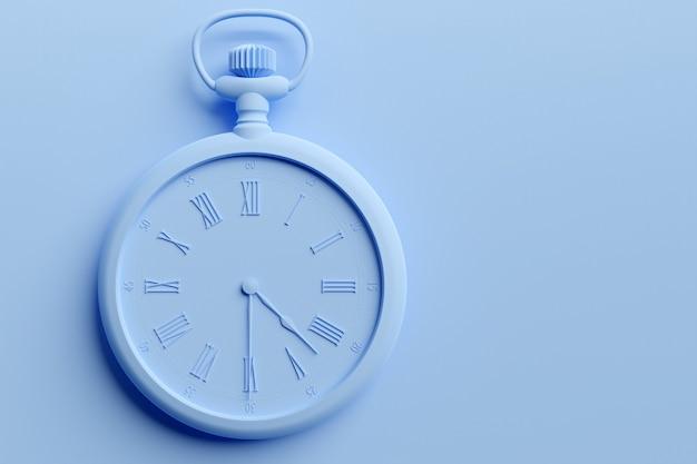 3d illustratie van antieke blauwe ronde klok op monocrome achtergrond.