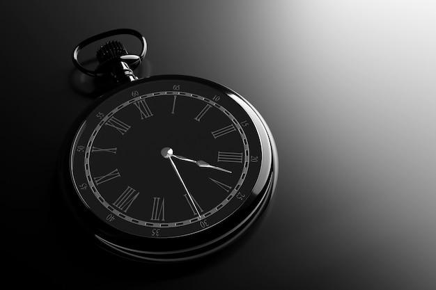 3d illustratie van antieke zwarte ronde klok op zwarte geïsoleerde achtergrond.