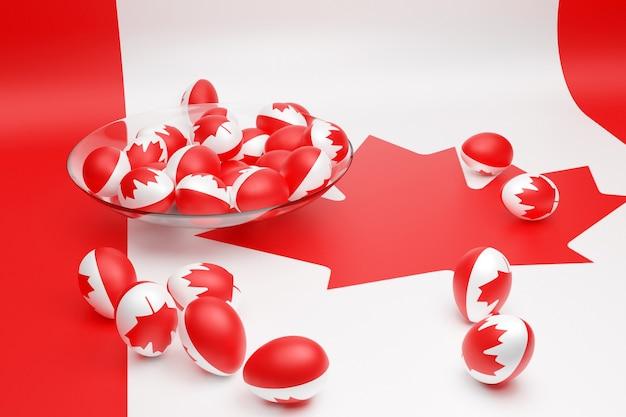 3d illustratie van ballen met de afbeelding van de nationale vlag van canada