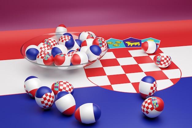 3d illustratie van ballen met de afbeelding van de nationale vlag van kroatië