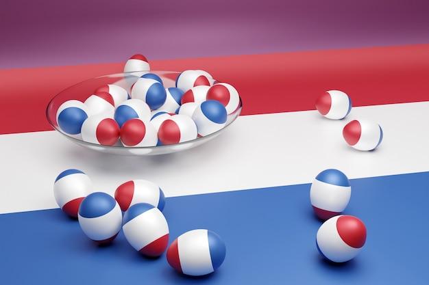 3d illustratie van ballen met de afbeelding van de nationale vlag van nederland