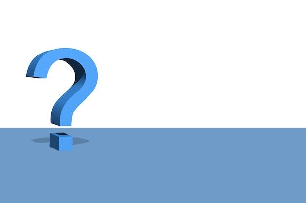 3d illustratie van blauw vraagsymbool met witte achtergrond