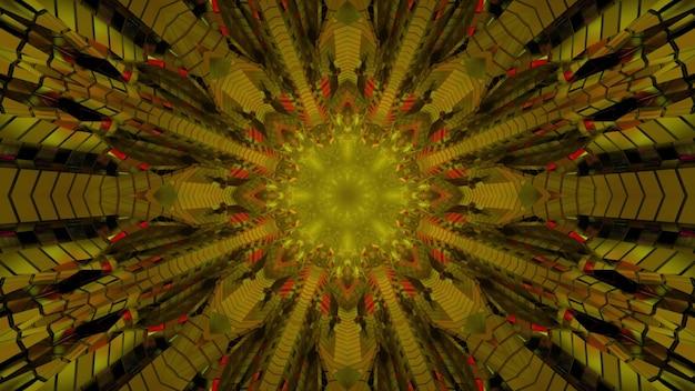 3d illustratie van bloemvormig symmetrisch caleidoscoopornament in gouden en oranje kleuren als abstracte achtergrond