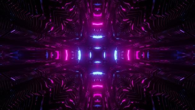 3d illustratie van bochtige neon paarse lijnen in donkere ruimte als abstracte caleidoscoop