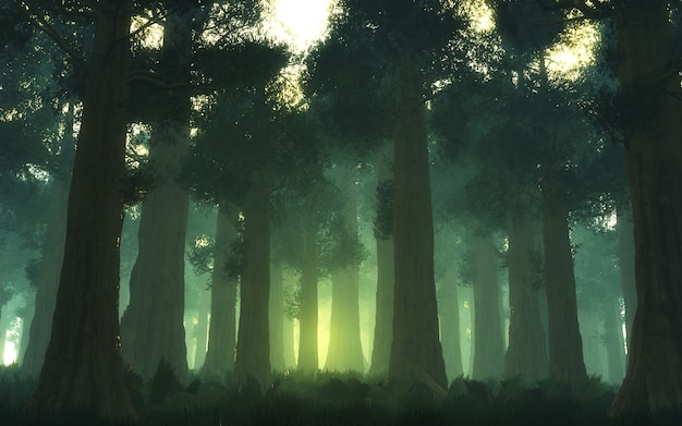 3d illustratie van bos.