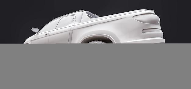 3d illustratie van concept lading pick-up truck op grijze geïsoleerde achtergrond. 3d-rendering.