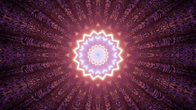 3d illustratie van creatief sierpatroon met gloeiende caleidoscoopster als samenvatting