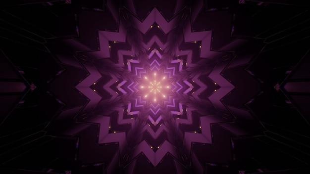 3d illustratie van creatief sneeuwvlokvormig caleidoscooppatroon met gloeiende lichten in donkere tunnel als abstracte achtergrond