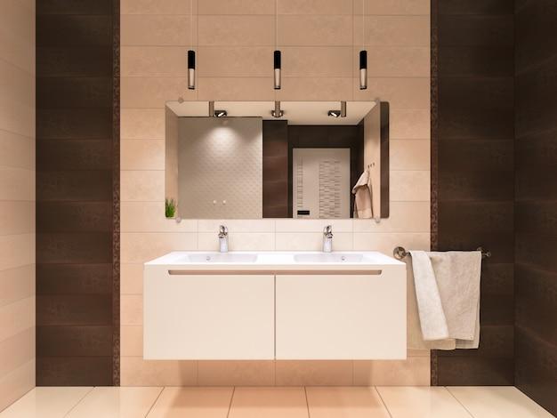 3d illustratie van de badkamer in bruine tinten