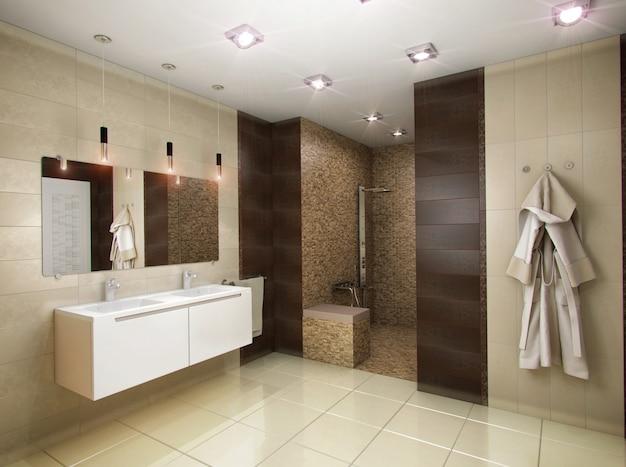 3d illustratie van de badkamers in bruine tonen