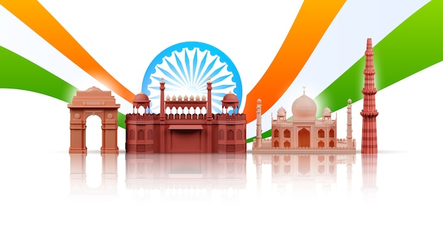 3d illustratie van de beroemde monumenten van india met ashoka-wiel en driekleurige golf op witte achtergrond.