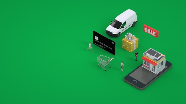 3d illustratie van de betaling per kaart. aankopen, bestellingen via smartphone. mobiel winkelen via internet
