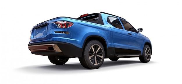 3d illustratie van de blauwe pick-up van de conceptenlading op geïsoleerd wit