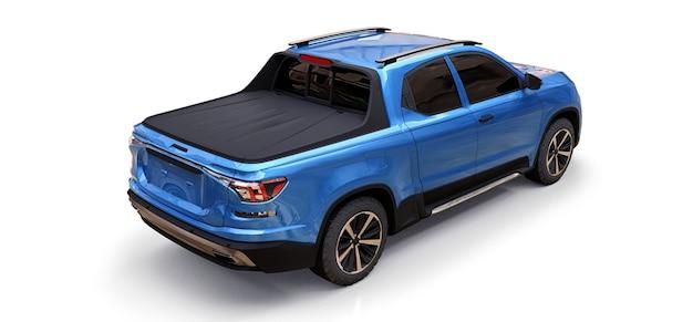 3d illustratie van de blauwe pick-up van de conceptenlading op witte geïsoleerde achtergrond. 3d-rendering.