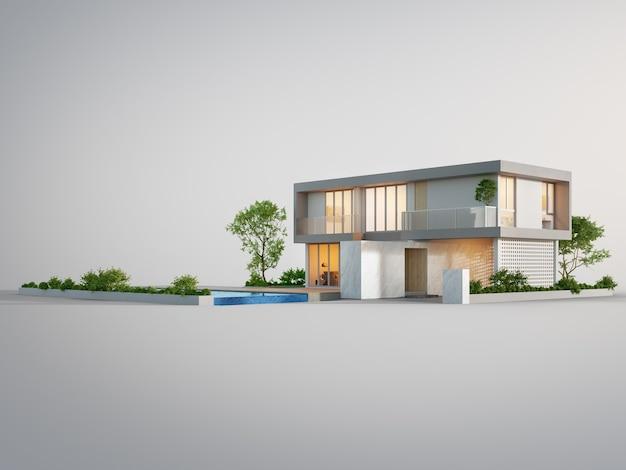 3d illustratie van de buitenkant van een woongebouw