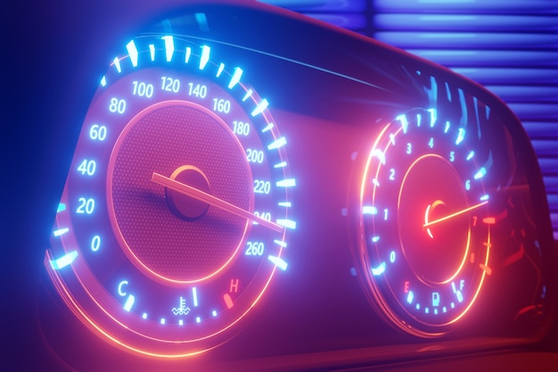 3d illustratie van de details van het nieuwe auto-interieur. snelheidsmeter toont een maximale snelheid van 240 km / u