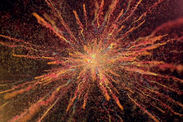 3d illustratie van de explosie van het kleurenpoeder op zwarte achtergrond