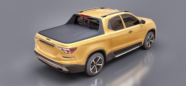 3d illustratie van de gele bestelwagen van de conceptenlading op grijze geïsoleerde oppervlakte