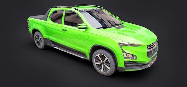 3d illustratie van de groene pick-up van de conceptenlading op grijze geïsoleerde achtergrond. 3d-rendering.