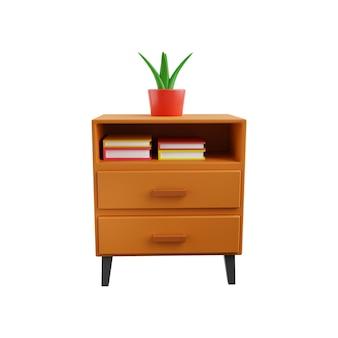 3d illustratie van de lade met kamerplant en boeken geïsoleerd op een witte achtergrond. lade 3d illustratie geïsoleerd op wit