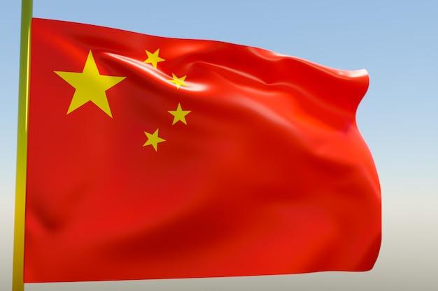 3d illustratie van de nationale vlag van china