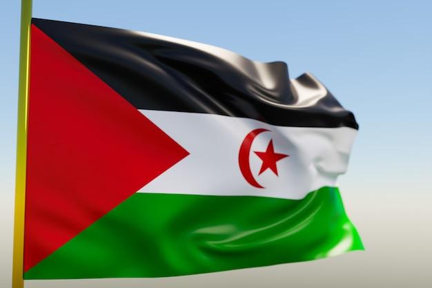 3d illustratie van de nationale vlag van de westelijke sahara