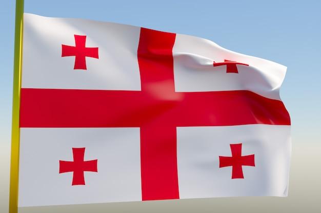 3d illustratie van de nationale vlag van georgië