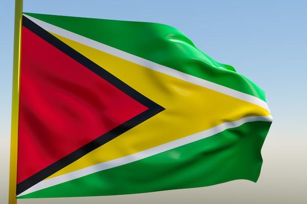 3d illustratie van de nationale vlag van guyana