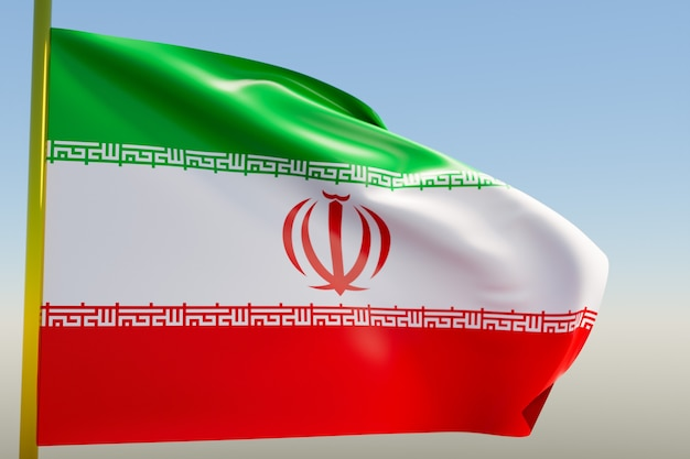 3d illustratie van de nationale vlag van iran