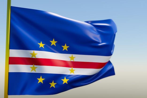 3d illustratie van de nationale vlag van kaapverdië