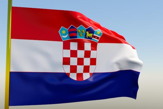 3d illustratie van de nationale vlag van kroatië