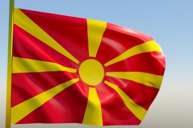 3d illustratie van de nationale vlag van macedonië