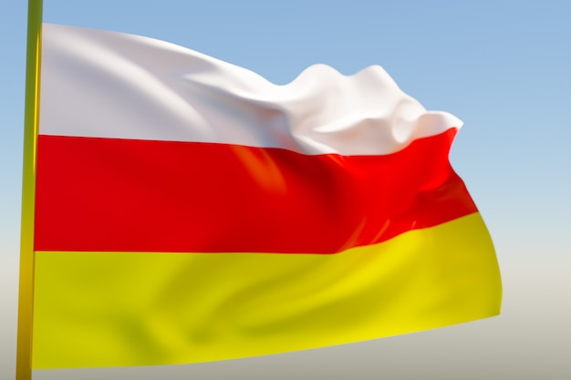 3d illustratie van de nationale vlag van ossetië