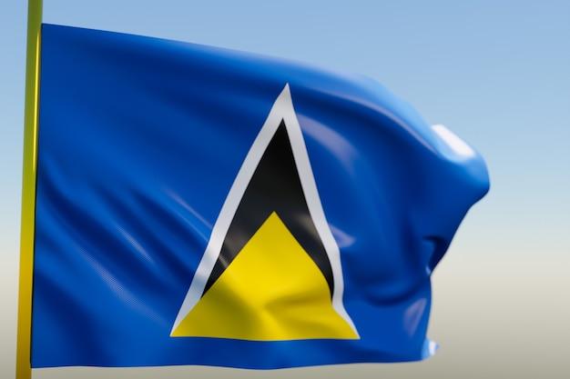 3d illustratie van de nationale vlag van saint lucia