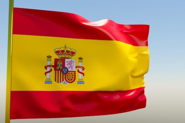 3d illustratie van de nationale vlag van spanje