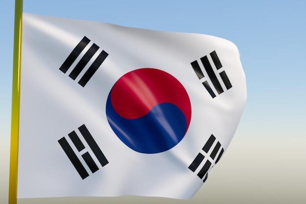 3d illustratie van de nationale vlag van zuid-korea