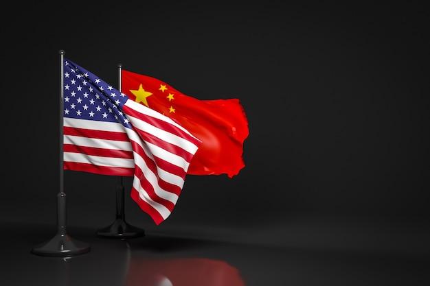 3d illustratie van de nationale vlaggen van de vs en china