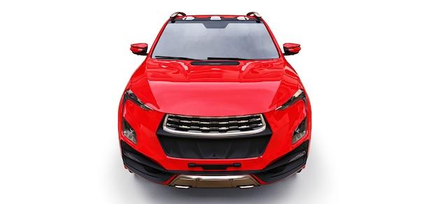 3d illustratie van de rode pick-up van de conceptenlading op witte geïsoleerde achtergrond. 3d-rendering.