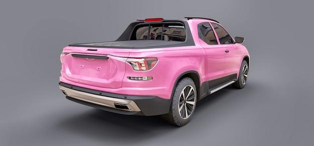 3d illustratie van de roze pick-up van de conceptenlading op grijze geïsoleerde achtergrond. 3d-rendering.
