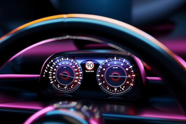 3d illustratie van de snelheidsmeter van een moderne auto met een geïntegreerde brandstofmeter