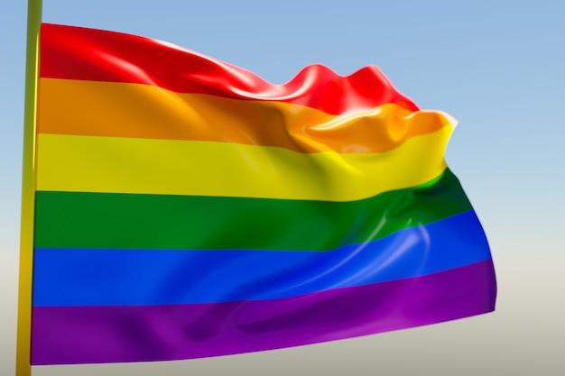 3d illustratie van de vlag van lgbt