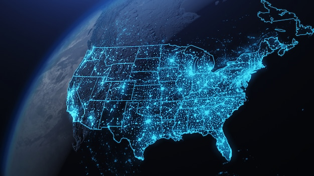 3d illustratie van de vs en noord-amerika vanuit de ruimte 's nachts met stadslichten