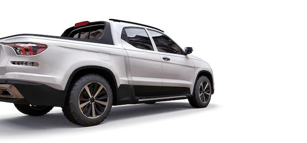 3d illustratie van de witte pick-up van de conceptenlading op witte geïsoleerde achtergrond. 3d-rendering.