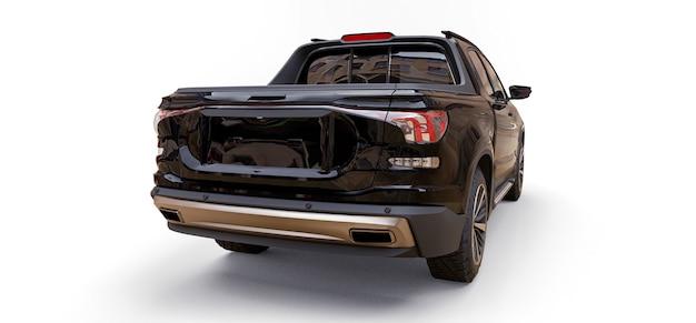 3d illustratie van de zwarte pick-up van de conceptenlading op witte geïsoleerde achtergrond. 3d-rendering.
