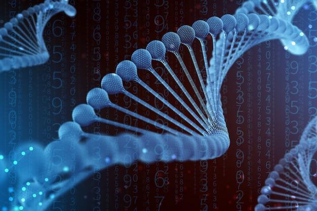 3d illustratie van dna-molecule. het spiraalvormige blauwe molecuul van een nucleotide in het organisme zoals in de ruimte. concept genoom