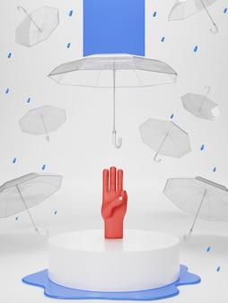 3d illustratie van drie vingerbegroeting voor democratisch over thailand